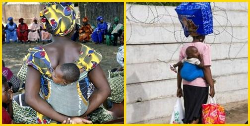 Járművek, közlekedés Dél-Afrikában: gyerek a háton, csomag a fejen